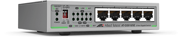 Allied Telesis GS910/5E 5-port 10/100/1000T unmanaged switch with external PSU (AC adaptor)