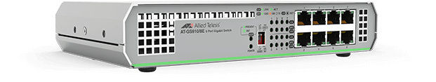 Allied Telesis GS910/8E 8-port 10/100/1000T unmanaged switch with external PSU (AC adaptor)