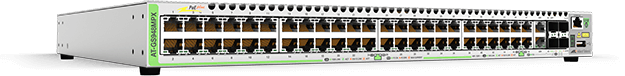 Allied Telesis GS948MPX 48-port 10/100/1000T PoE+ stackable switch with 2 combo ports (10/100/1000T or 100/1000X SFP) and 2 SFP+ stacking/user ports