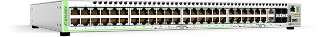 Allied Telesis GS948MX 48-port 10/100/1000T stackable switch with 2 combo ports (10/100/1000T or 100/1000X SFP) and 2 SFP+ stacking/user ports