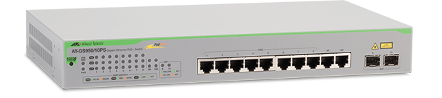 Allied Telesis GS950/10PS 10-port 10/100/1000T WebSmart switch with 2 SFP combo ports and PoE+