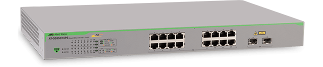 Allied Telesis GS950/16PS 16-port 10/100/1000T WebSmart switch with 2 SFP combo ports and PoE+