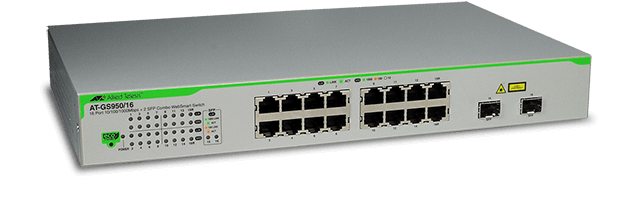 Allied Telesis GS950/16  16-port 10/100/1000T eco-friendly WebSmart switch with 2 SFP combo ports
