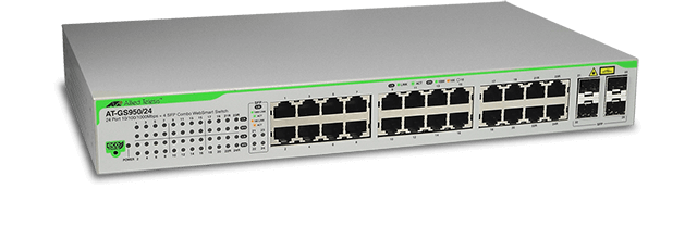Allied Telesis GS950/24 24-port 10/100/1000T eco-friendly WebSmart switch with 4 SFP combo ports