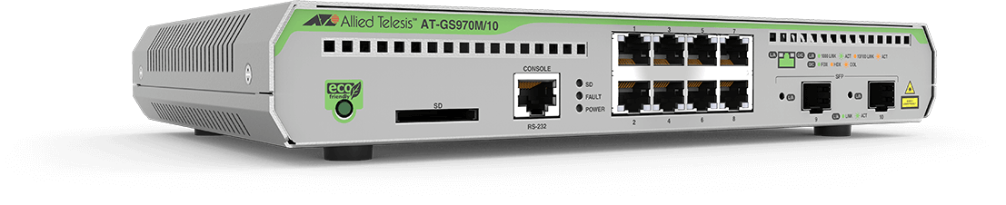 Allied Telesis GS970M/10 8-port 10/100/1000T managed switch with 2 SFP ports