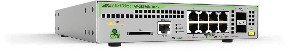 Allied Telesis GS970M/10PS 8-port 10/100/1000T PoE+ managed switch with 2 SFP ports