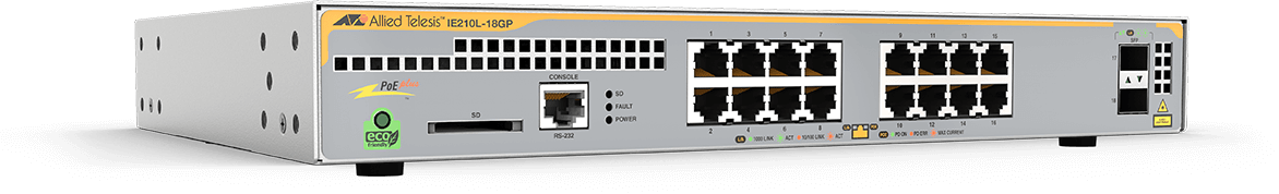 Allied Telesis IE210L-18GP 16 x 10/100/1000T, 2 x 100/1000X SFP, Industrial Ethernet, Layer 2 Switch, PoE+ Support