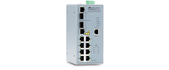 Allied Telesis IFS802SP/POE(W) 8x 10/100T, 2x 100/1000X SFP combo, Fast Ethernet Industrial Switch, PoE Support