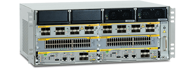 Allied Telesis SwitchBlade x8106 The SBx8106 compact, 4RU advanced Layer 3+ chassis features 6 slots and an included fan module.