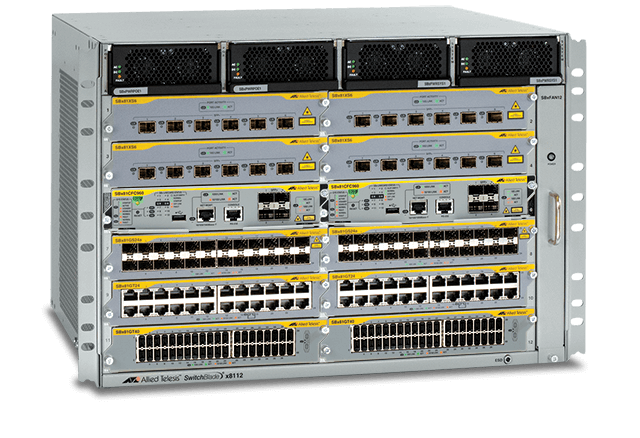 Allied Telesis SwitchBlade x8112 The SBx8112 7RU advanced Layer 3+ chassis features 12 slots and an included fan module.