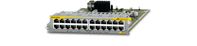 Allied Telesis SBx81GP24 The SBx81GP24 line card provides 24 Gigabit copper Power over Ethernet Plus (PoE+) ports for the SwitchBlade® x8100 Series.