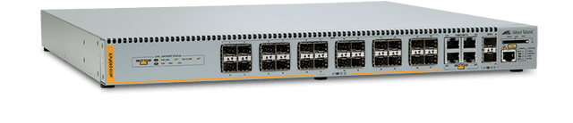 Allied Telesis x610-24SPs/X 24-port Gigabit switch with 20 x 100/1000X (SFP) ports, 4 additional combo ports (1000X SFP or 10/100/1000T) and 2 x SFP+ 10 Gigabit ports, internal PSU