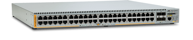 Allied Telesis x610-48Ts-POE+ 48-port Gigabit switch with 44 x 10/100/1000T (RJ-45) Power over Ethernet (IEEE 802.3at) copper ports and 4 additional combo ports (1000X SFP or 10/100/1000T), removable PSU (PSU not included)