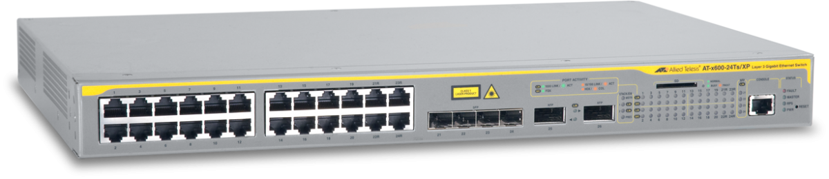 Allied Telesis x600-24Ts/XP 24 x 10/100/1000T (RJ-45) copper ports, 4 x 1000X SFP combo ports, 2 x XFP ports, 1 expansion bay for AT-StackXG module
